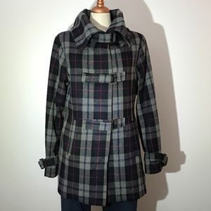 President Stone Grey & Blue Checked Coat - L
